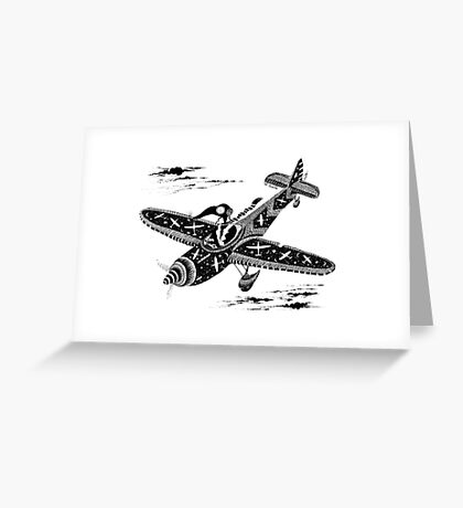 Pen and Ink Illustration of Aviator Mouse Greeting Card