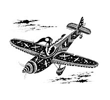 Pen and Ink Illustration of Aviator Mouse Photographic Print