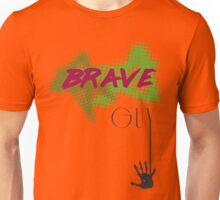 Brave Text and Graphic Tee Unisex T-Shirt