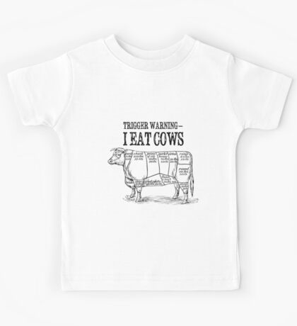 Meat Eater trigger warning Kids Tee