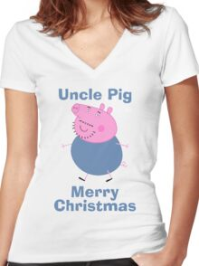 Uncle pig (merry christmas) Women's Fitted V-Neck T-Shirt