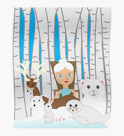 Mother Nature Winter Scene Poster
