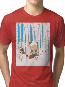 Mother Nature Winter Scene Tri-blend T-Shirt