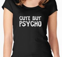 female dark black funny girl emo woman psycho t shirts Women's Fitted Scoop T-Shirt
