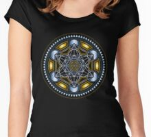 SACRED GEOMETRY - METATRONS CUBE - FLOWER OF LIFE - SPIRITUALITY - YOGA - MEDITATION Women's Fitted Scoop T-Shirt