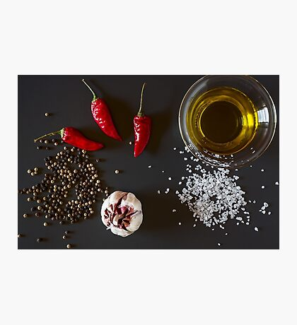 Fresh chili, garlic, oil, salt and pepper Photographic Print