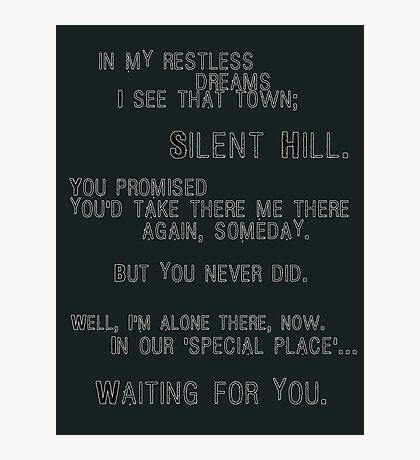 Silent Hill - Mary's Letter (Text) Photographic Print