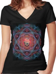 Hamsa - CHAI - Sacred Geometry Women's Fitted V-Neck T-Shirt