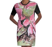 Apple Blossoms Graphic T-Shirt Dress