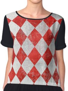 Red and White Diamonds  Chiffon Top