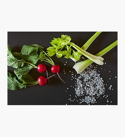 Fresh radish, celery and salt Photographic Print