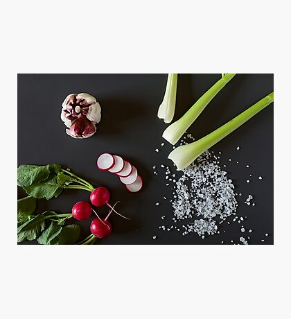 Fresh sliced radish, red garlic, celery and salt Photographic Print