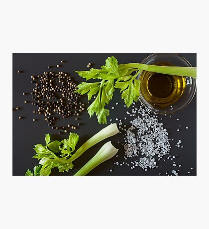 Italian oil dip with celery, oil, salt and pepper Photographic Print