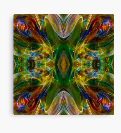 Green Flame Nebula Psychedelic Abstract Canvas Print