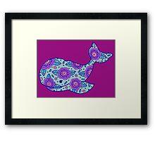 whale ii floral blue/pink Framed Print