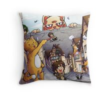 Attack on Kitten! Throw Pillow