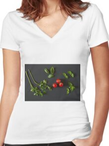 Green vegetables around three red tomatoes Women's Fitted V-Neck T-Shirt