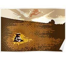 Sepia Samurai Woodblock Style Poster