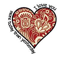 I Love You - Cloisonne Heart Photographic Print