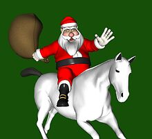 Santa Riding A White Horse by Mythos57