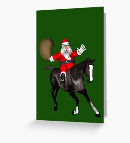Santa Riding A Black Horse Greeting Card