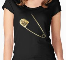 Antique Brass Safety Pin Women's Fitted Scoop T-Shirt