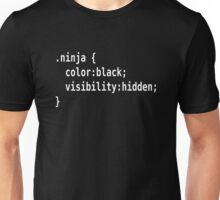 CSS Class Ninja White on Black Design for Web Developers Unisex T-Shirt