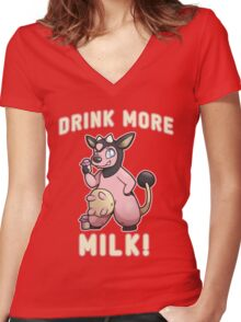 Drink More Milk! Women's Fitted V-Neck T-Shirt