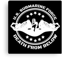 Cool U.S. Submarine Force, Death from Below logo, stars and circle Canvas Print