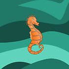 Orange Seahorse  | Swirling Green Sea by piedaydesigns