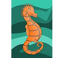 Orange Seahorse  | Swirling Green Sea Photographic Print
