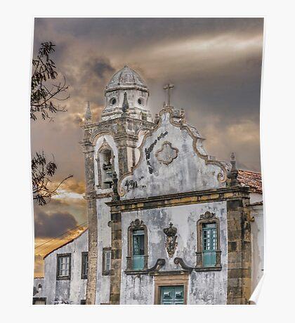 Exterior Facade Antique Colonial Church Olinda Brazil Poster