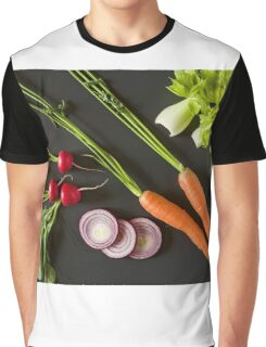 Fresh raw vegetables over a dark background Graphic T-Shirt