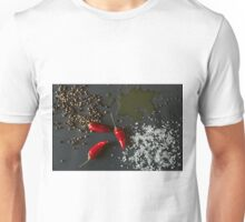 Chili peppers, oil, salt and pepper over a dark background Unisex T-Shirt
