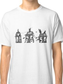 "Pen and Ink Illustration ""Rooftops"" of Three Houses inhabited by Mice  Classic T-Shirt"