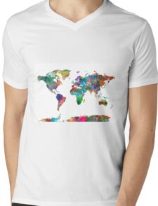 world map Mens V-Neck T-Shirt