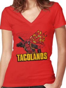 TACOLANDS Women's Fitted V-Neck T-Shirt