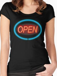 Open for business. Women's Fitted Scoop T-Shirt