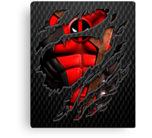 Red Ninja chest ripped torn tee Canvas Print