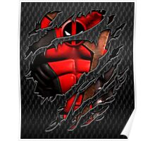 Red Ninja chest ripped torn tee Poster