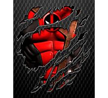 Red Ninja chest ripped torn tee Photographic Print