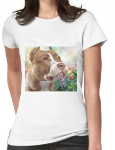 Pit Bull Painting  Womens Fitted T-Shirt