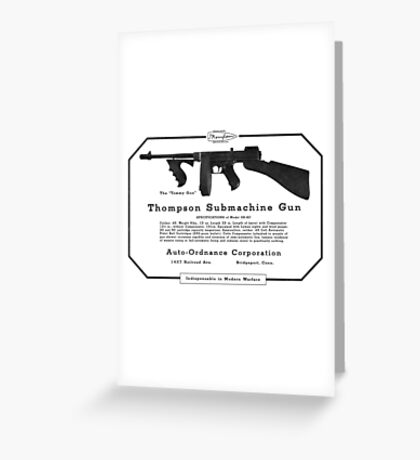 Thompson Submachine Gun. Greeting Card