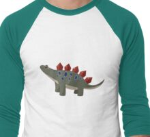 Classic Cartoon Stegosaurus Dinosaur Print Men's Baseball ¾ T-Shirt