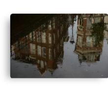 Starting to Rain - Amsterdam Canal Houses Reflected Canvas Print