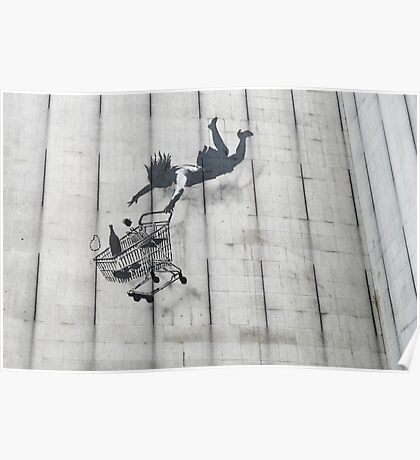 Banksy Falling Shopper London Poster