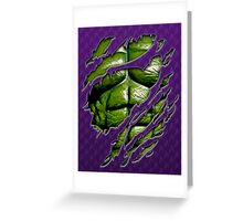 Green muscle chest in purple ripped torn tee Greeting Card