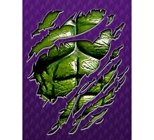 Green muscle chest in purple ripped torn tee Photographic Print
