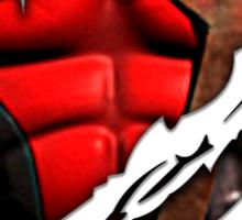 Red Ninja chest ripped torn tee Sticker