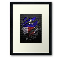 Star and stripes chest ripped torn tee Framed Print